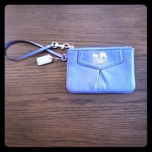 Periwinkle Leather Coach Wristlet